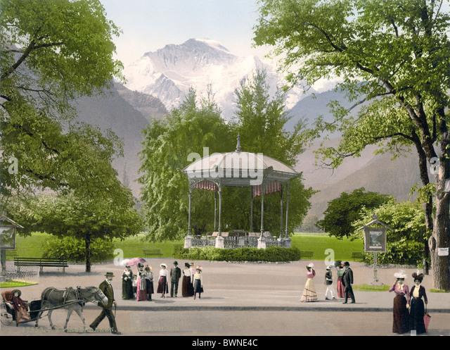 Schweiz Europa Interlaken Musikpavillon Berner Oberland Kanton Bern Bern Photochrom Geschichte historische Stockbild