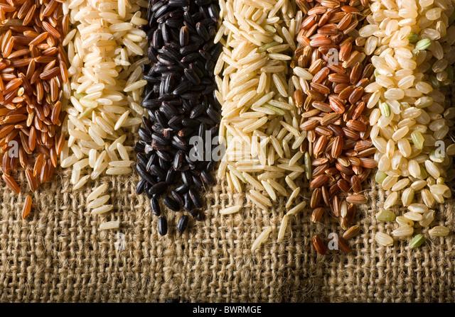 Sechs Sorten von rohen brauner Reis. Von links nach rechts: 1. Himalaya Roter Reis - 2. Langkorn-Naturreis - 3. Stockbild