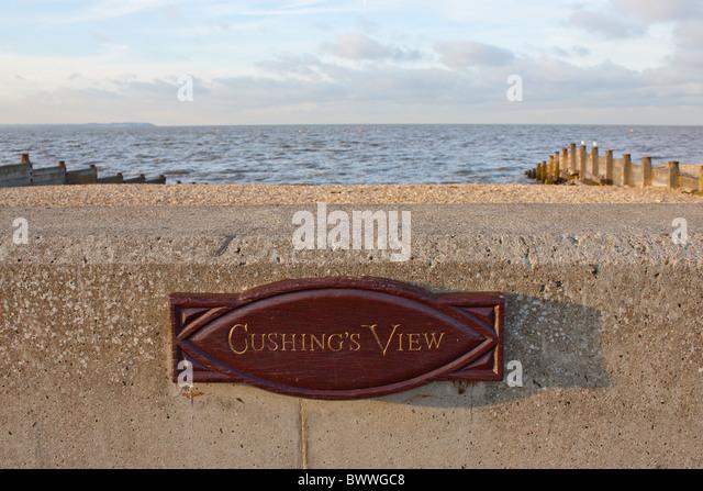 Gedenktafel mit dem Schauspieler Peter Cushing.  Dies war einer seiner bevorzugten Ansichten lebte er in Whitstable, Stockbild