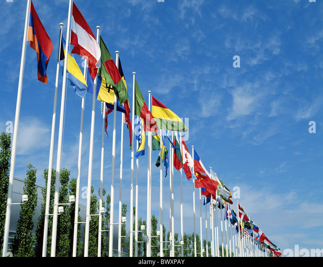 Fahnen Flaggen Fahnen Flagge Zeile Geographie International Lissabon Portugal Stockbild