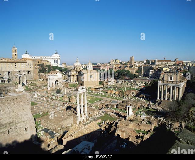 Antike Antike Forum Romanum Italien Europa Rom Übersicht Roman Stockbild