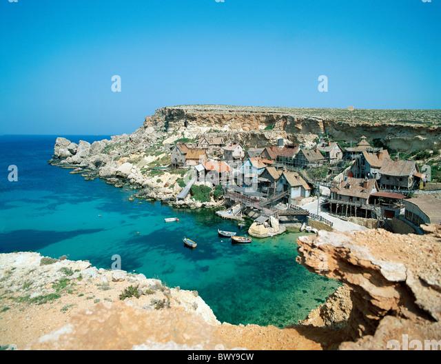 Film Landschaft Küste Maltas Popeye Dorf Übersicht Filmtourismus Film Stockbild