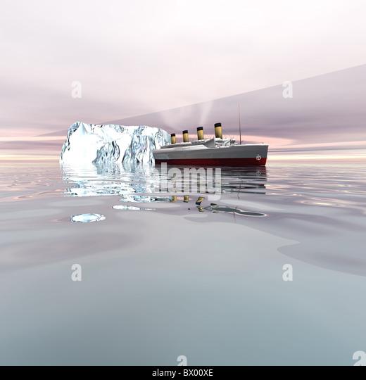 Der schöne Ozeandampfer in der Nähe von Eisbergen in den Nordatlantik. Stockbild