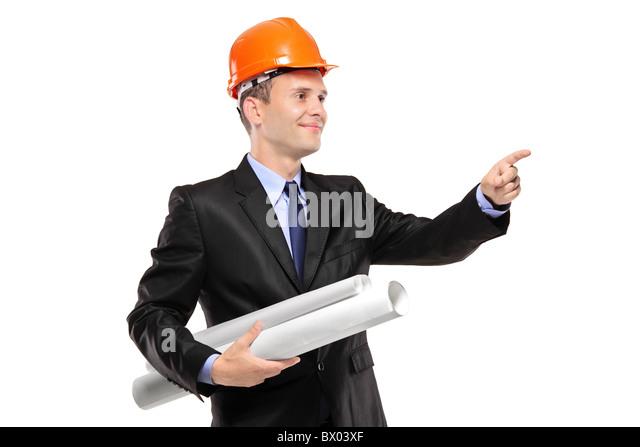 Ein Blick auf ein Architekt mit Blaupausen zeigt Stockbild