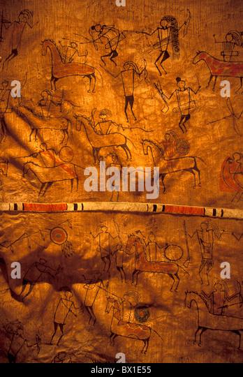 Great Falls Lewis Gemälde Indianer Art Clark Interpretive Center Montana malte Bison Robe USA A Stockbild