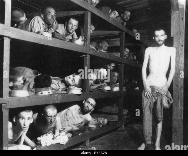 OHRDRUF-Konzentrationslager in der Nähe von Gotha, Deutschland, fotografiert von US-Truppen nach der Befreiung Stockbild