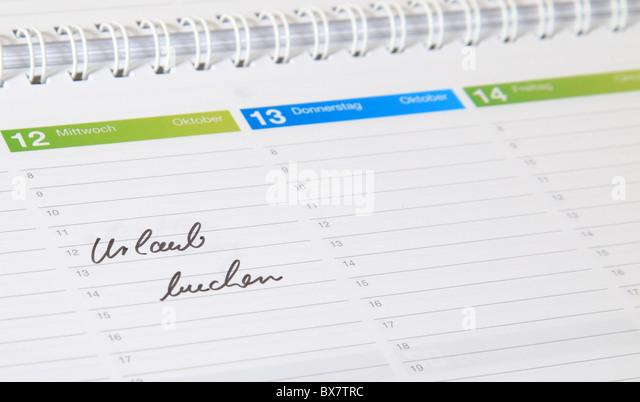 Ein standard-Zeitplan. Der deutsche Begriff Urlaub Buchen ist markiert. (Englisch: Buchen Sie einen Urlaub) Stockbild