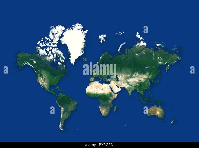 Weltkarte in blauem Hintergrund Stockbild