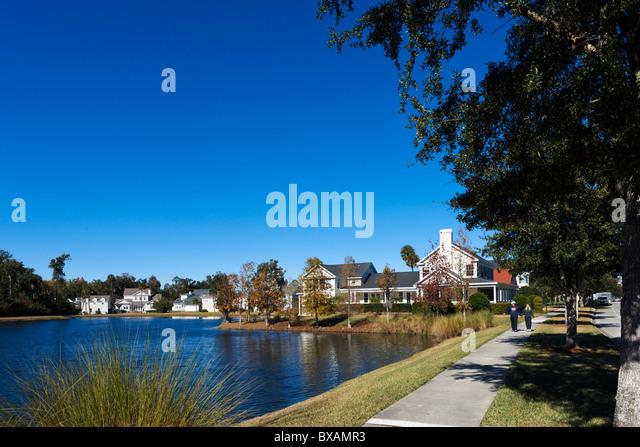 Häuser auf der Feier Ave nahe dem Zentrum von Disney Zweck gebaut Township Celebration, Kissimmee, Orlando, Stockbild
