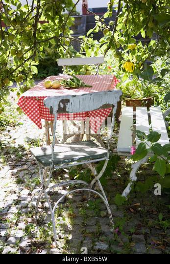 Tisch mit Stühlen im Garten Stockbild