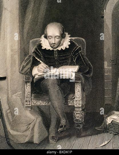 WILLIAM SHAKESPEARE in einer Gravur des 19. Jahrhunderts Stockbild