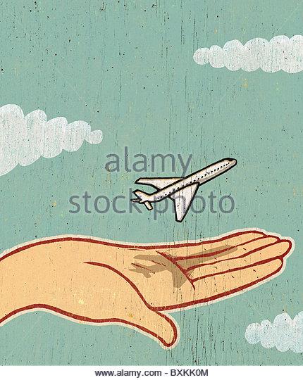 Ein kleines Flugzeug abheben Stockbild