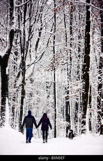 Winter, tief verschneiten Wald. Menschen auf einer Wanderung auf einem schneebedeckten Weg. Stockbild