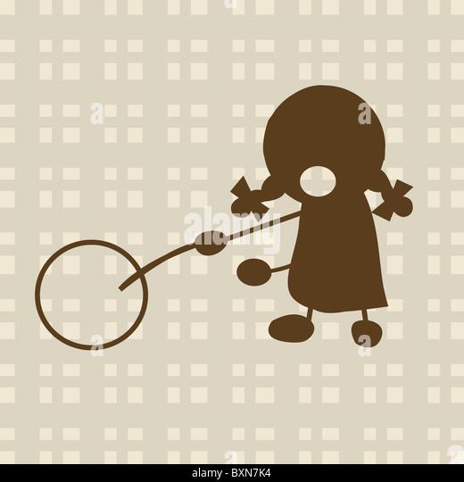 Kleine Mädchen spielen mit Kreis Stockbild