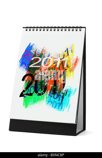 Desktop-Kalender mit abstrakten Kunstwerken 2011 auf weißem Hintergrund (Abbildung Kalenderblatt ist ein Originalwerk) Stockbild