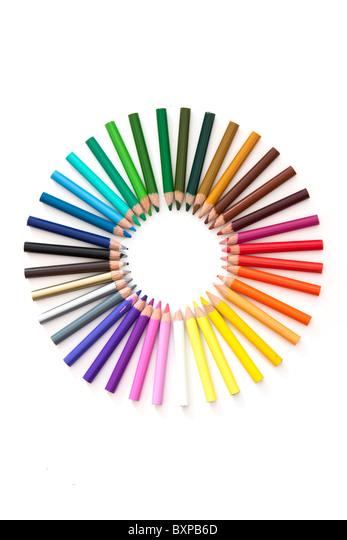 Satz von Bleistifte bilden ein Farbkreis - Stock-Bilder
