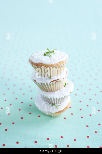 Limette und Kokos Muffins, close-up Stockbild