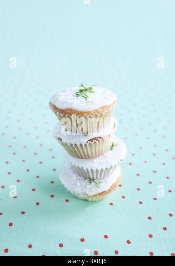 Limette und Kokos Muffins, close-up Stockbild