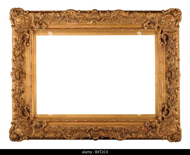 Vintage gold-Rahmen isoliert auf weißem Hintergrund - mit Beschneidungspfad Stockbild