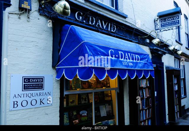 G.David Antiquarische Buchhandlung, St. Edwards Passage, Cambridge, England, UK Stockbild
