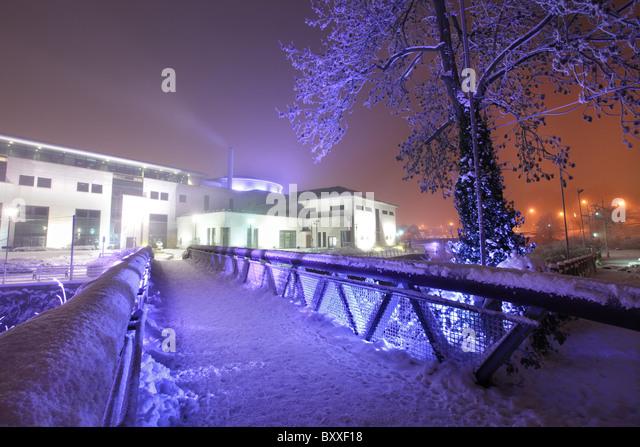 Lagan Valley Island Mitte Dezember schneearm, Lisburn. Stockbild