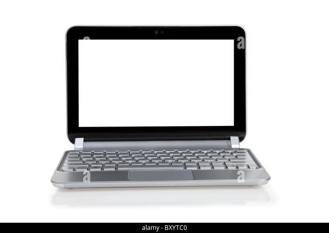 Laptop-Computer auf weißem Hintergrund Stockbild
