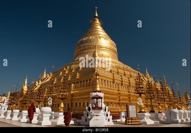 Shwezigon Pagode in Bagan, Birma. Stockbild