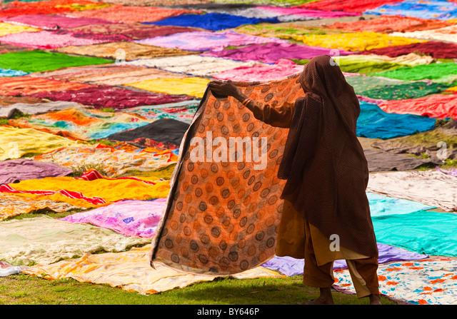 Trocknen nach dem Waschen des Sari am Ufer des Flusses Yamuna, Agra, Indien Stockbild