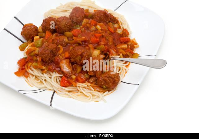 Nudeln mit Tomaten-Sauce und Fleisch ball Stockbild