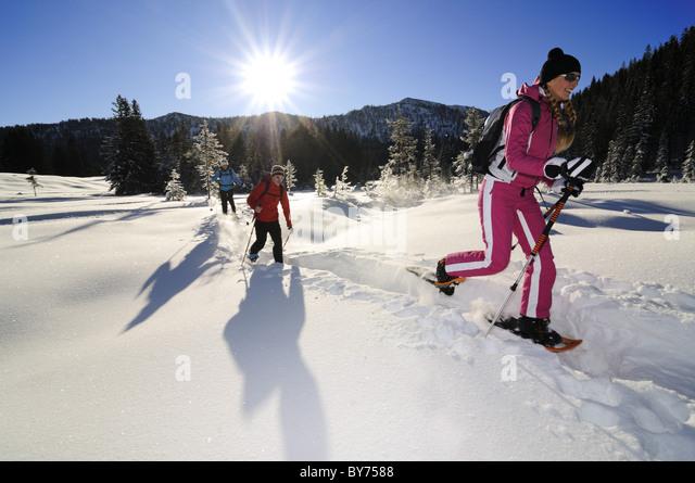Menschen, Schneeschuhwandern in verschneiter Landschaft, Hemmersuppenalm, Reit Im Winkl, Chiemgau, Upper Bavaria, Stockbild
