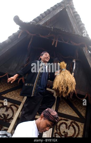 Traditionelle Prozession von Sindang Barang West-Java Stockbild