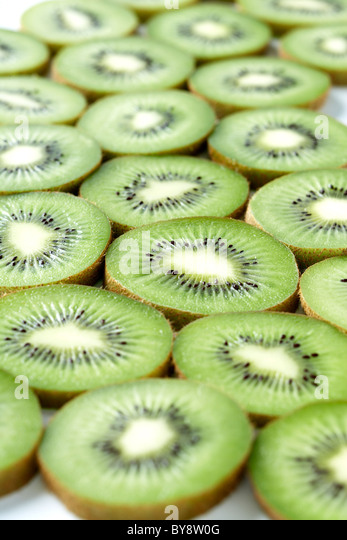 Kiwi FRUCHTSCHEIBEN Stockbild