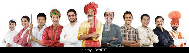 Männer der verschiedenen indianischen Kulturen Stockbild