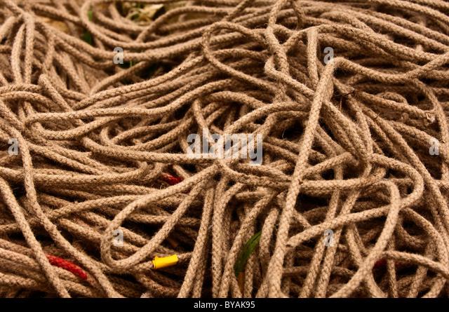 gewickelten Durcheinander von Seil Stockbild