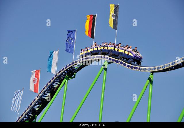 Alpina-Bahn Achterbahn, Oktoberfest, Messe, München, Bayern, Deutschland, Europa Stockbild