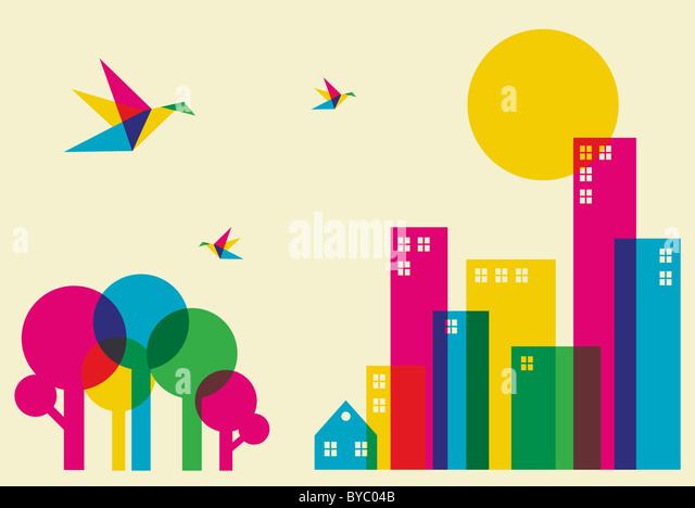 Frühling in der Stadt. Voller Farbe Brummen Vögel fliegen über den Wald und die Stadt. Vektor-Datei Stockbild