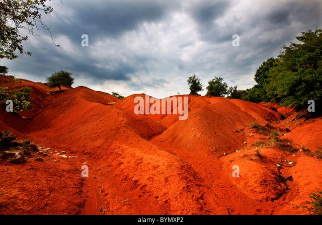 Die unglaubliche Landschaft in 'Kokkinopilos' (bedeutet 'Red Clay') in Preveza Präfektur, Epirus, - Stock-Bilder