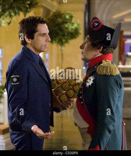 BEN STILLER & ALAIN CHABAT NIGHT AT THE MUSEUM: BATTLE OF THE SMITHSONIAN; NACHTS IM MUSEUM 2 (2009) Stockbild