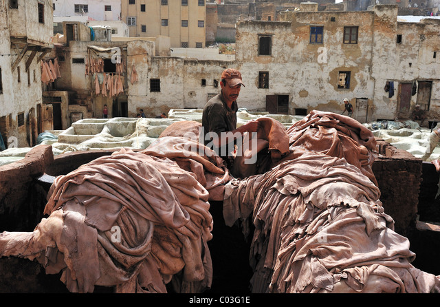 Arbeiter in einer Gerberei Stapeln Tier versteckt sich vor der Gerbung Bottiche, Gerber und Färber Viertel, Stockbild