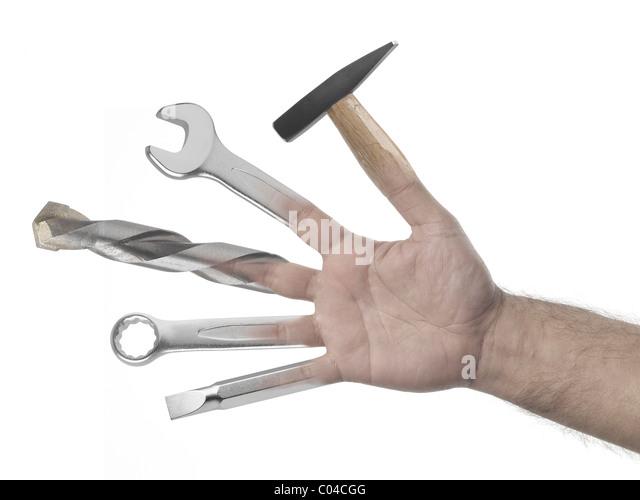 Handyman Hand voller Werkzeuge auf weißem Hintergrund Stockbild