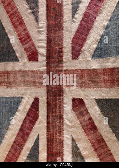 Teppich mit Union Jack Muster aus bunten Recycling Vintage Teppiche Stockbild