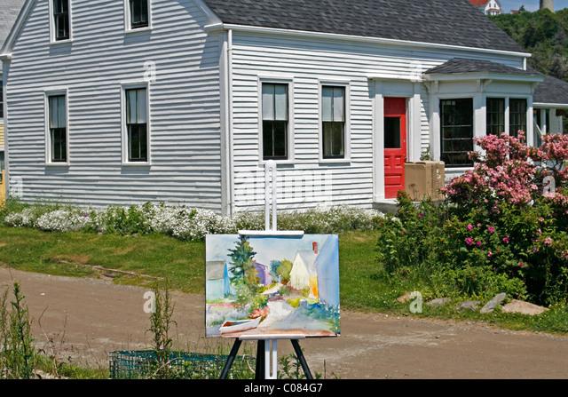 Kunstunterricht, Malerei, Aquarell, Staffelei, Künstlerkolonie, Küste von Monhegan Island, Maine, New Stockbild