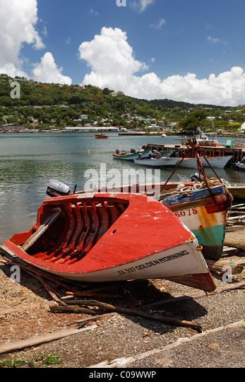 Fischereihafen mit Fischerbooten, Castries, der Hauptstadt, St. Lucia, LCA, Windward-Inseln, kleine Antillen, Karibik Stockbild
