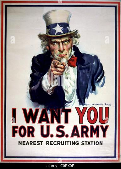 Uncle Sam Rekrutierung Plakat für US Army Stockbild