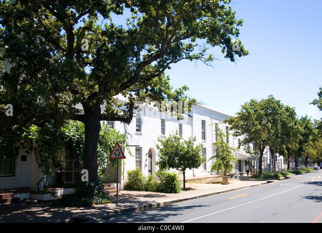 Dorp Street wohnen in Stellenbosch Stockbild