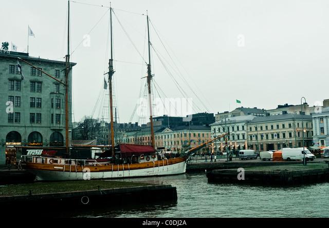 Boote verankert in den Hafen, täglichen Lebens Helsinki, Finnland Stockbild