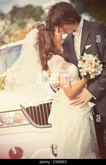 Junge Hochzeit paar Porträt. Retro-Stil Farben. Stockbild