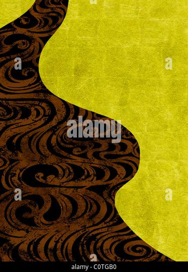 Wirbelt auf Gold und schwarze Hintergründe Stockbild