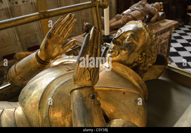Richard Beauchamp Effigy, Beauchamp Kapelle, Kirche St. Marien, Warwick, Warwickshire, UK Stockbild