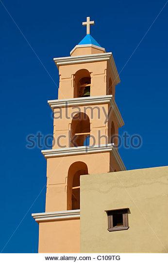 Glockenturm von der katholischen Kirche Ano Syos, Syros [?????], griechischen Kykladen-Inseln - Stock-Bilder